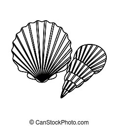 silhouette of seashell on the sea in white background
