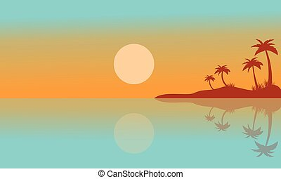 Silhouette of seaside with reflection scenery