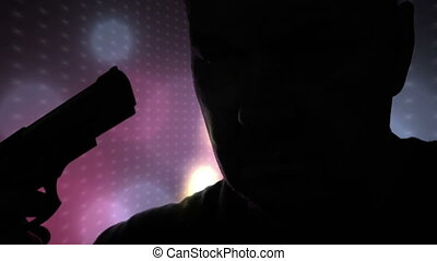 Silhouette Of Serious Male Holding Pistol And Preparing To...
