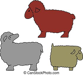 Silhouette of sheep collection (sheep sacrifice Kurban-bairam), cartoon on white background,