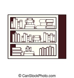 silhouette of shelving with books in white background