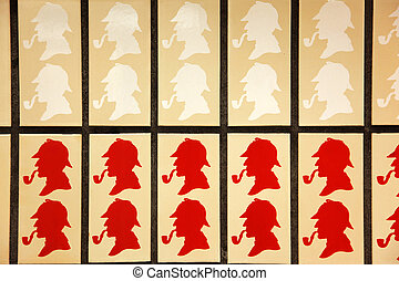 Silhouette of Sherlok Holmes in Baker street subway station in London, UK