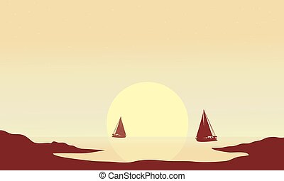 Silhouette of ship at afternoon