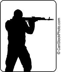 Black silhouette of shooting man with machine gun