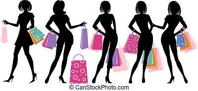 shopping - Silhouette of shopping girl