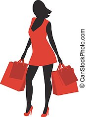 Silhouette of shopping