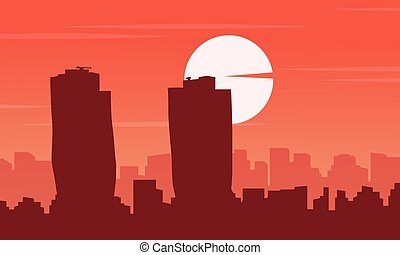 Silhouette of SIngapore building city scenery