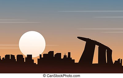 Silhouette of Singapore scenery at sunset