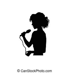 Silhouette of singing woman, girl, half length