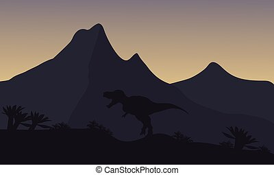 Silhouette of single brachiosaurus in mountain