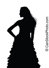 Silhouette of Slim Girl Posing at Beauty Pageant - Detailed...