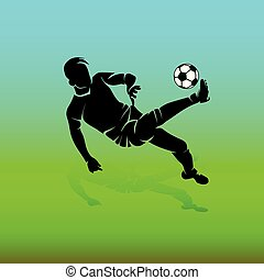 Silhouette of soccer player with a ball makes a kick in jump, on a green background,