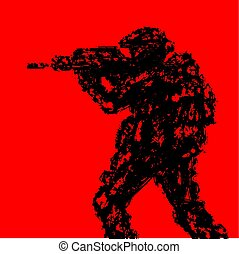 Silhouette of soldier aiming from machine gun. Vector illustration.