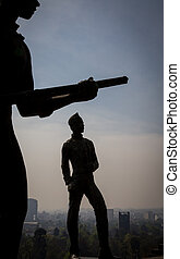 silhouette of soldier statue