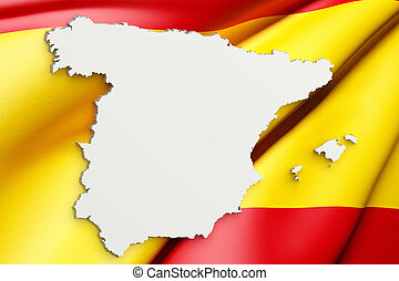 Silhouette of Spain map with flag