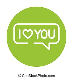 silhouette of speech bubble with heart on green background