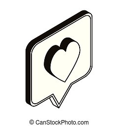 silhouette of speech bubble with heart on white background