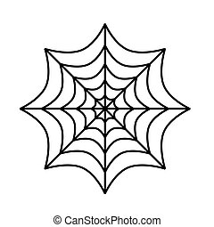 Silhouette of spider cobweb on white background. Vector Illustration.