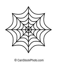 Silhouette of spider cobweb on white background. Vector Illustration.