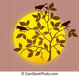. Silhouette of spring tree with rook birds. Vector.