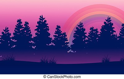 Silhouette of spruce beauty landscape with rainbow