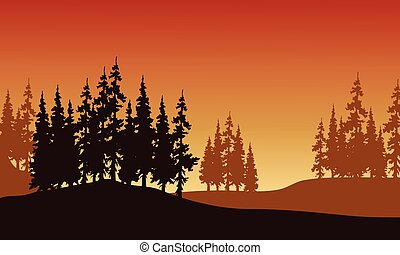 Silhouette of spruce in hills with brown backgrounds
