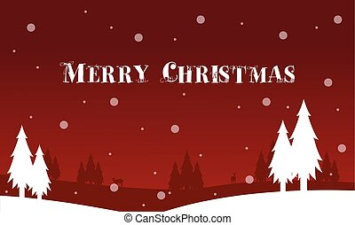 Silhouette of spruce tree Christmas landscape vector...