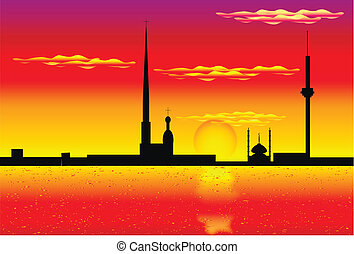 Silhouette of St. Petersburg at Sunset