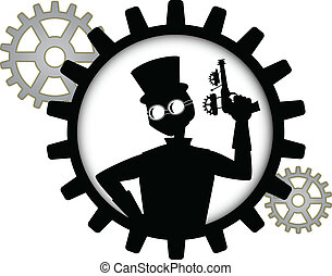 silhouette of steampunk man holds g - Gray Black Outline...