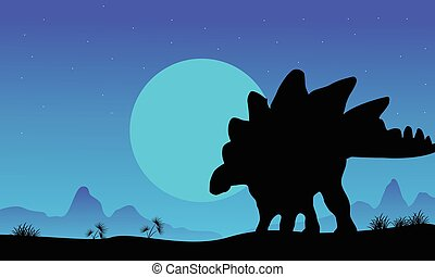 Silhouette of stegosaurus at the night