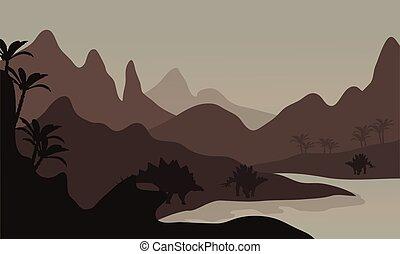 Silhouette of stegosaurus in riverbank