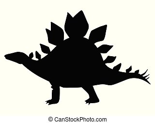silhouette of Stegosaurus, motif of the Jurassic period