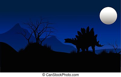 Silhouette of stegosaurus with moon scenery