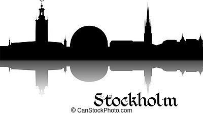 Silhouette of Stockholm - Black silhouette of Stockholm the...