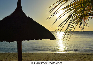 Silhouette of Straw big umbrella and palms at sunset at tropical sea