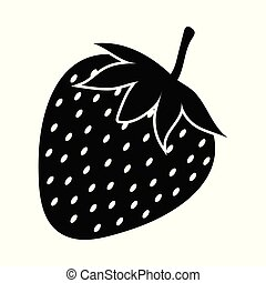 Silhouette of strawberry on a white background