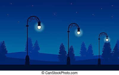 Silhouette of street lamp at night landscape
