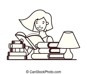 silhouette of student girl with reading book in the hands