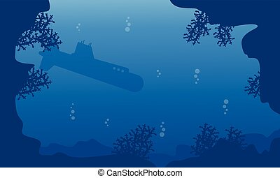 Silhouette of submarine on blue sea landscape
