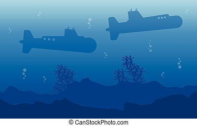 Silhouette of submarine on the sea landscape