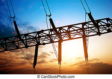 Silhouette of substation electrical equipment