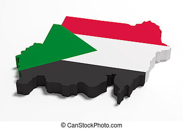 Silhouette of Sudan map with flag