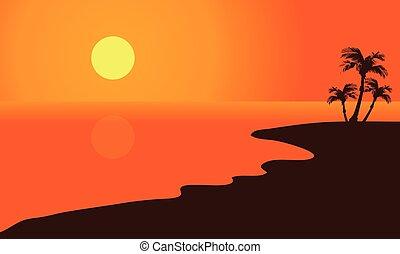 Silhouette of summer beach
