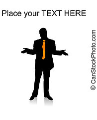 surprised businessman posing with hand gesture - silhouette...