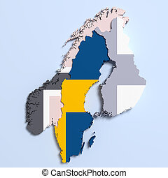 Sweden Map Images And Stock Photos Sweden Map Photography - Sweden map 3d