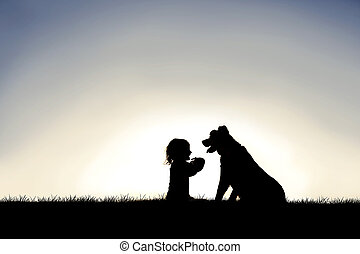 Silhouette of Sweet Little Child Sitting Outside with her Loyal Family Pet Dog
