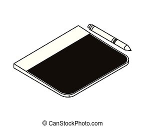 silhouette of tablet on white background
