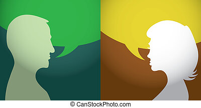 Silhouette of talking man and woman - illustration