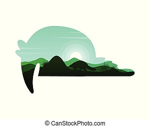 Silhouette of tapir on the hill at sunset landscape