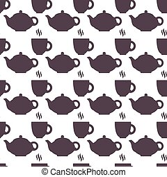Silhouette of teapot and cup abstract seamless pattern